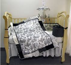 baby bedding in black toile for the nursery