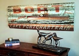 personalized corrugated metal lake sign