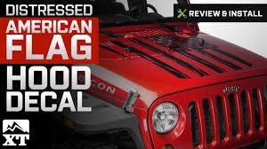 Sec10 Jeep Wrangler Distressed American Flag Hood Decal Matte Black J106242 07 18 Jeep Wrangler Jk