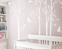 White Tree Wall Decals Nursery Large Wall Decal Kids Room Wall Etsy Birch Tree Wall Decal Tree Wall Decal Tree Wall
