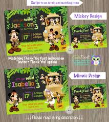 Mickey Mouse Safari Invitation Minnie Safari Invitation Safari