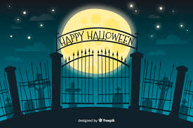 Free Vector Gate Of A Cemetery Halloween Background