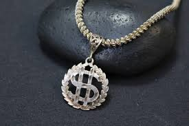 sterling silver dollar sign necklace