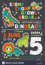 Invitacion A Fiesta De Cumpleanos De Dinosaurios Imagen Vector De