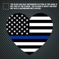 Heart Shape Police Thin Blue Line American Flag Car Auto Laptop Window Decal Sticker Wish