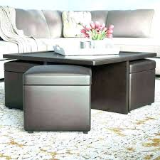 coffee table with ottomans under