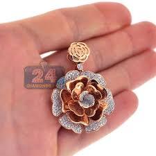womens diamond pave flower pendant 18k