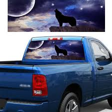 1 Pc Howling Wolf Moon Planet Stars Rear Window Graphic Decal Tint Sticker Truck