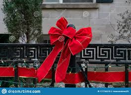 Red Christmas Bow On An Outdoor Fence Stock Photo Image Of Winter Outdoors 171744210