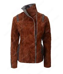 western leather jacket made in brown suede