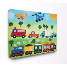The Kids Room By Stupell Planes Trains And Automobiles Oversized Stretched Canvas Wall Art 24 X 1 5 X 30 Walmart Com Walmart Com