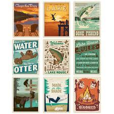 Lake And Lodge Camping Vinyl Sticker Set Of 9 At Retro Planet