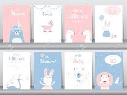 Conjunto De Tarjetas De Invitaciones De Baby Shower Poster