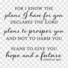 Youtube Wall Decal For I Know The Plans Have You Future Bible Verses Transparent Png