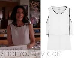 abby white black trim top | Shop Your TV