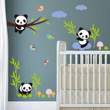 Large Size 100x90 Cm Cartoon Panda Bamboo Wall Stickers Baby Living Room Tv Wall Sofa Removable Sticker Home Art Wish
