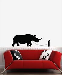 The Decal Store Com By Yadda Yadda Design Co Wall Pet Rhino Child Walking Rhinoceros Wall Vinyl Decal Sticker