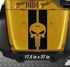 For Jeep Wrangler Tj Lj Jk Punisher 2 Stripes Vinyl Hood Decal Sticker Truck B Car Stickers Aliexpress