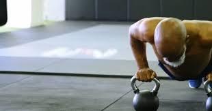 determined senior man doing push
