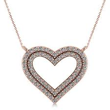allurez double row open heart diamond