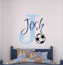 Vinyl Decal Wall Art Soccer Monogram With By Playonwalls On Etsy 41 00 Soccer Room Kid Room Decor Boy Room