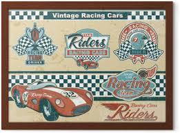 Racing Car Vintage Elements Sticker Pixers We Live To Change