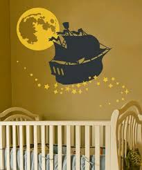 Sailing On Stars Vinyl Wall Decal Ship Moon And Stars Etsy Baby Boy Room Themes Nursery Wall Decals Boy Disney Themed Nursery