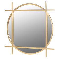 large gold round square wall mirror