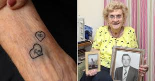 Widow gets first tattoo aged 94 showing her husband and late son's initials  | Metro News