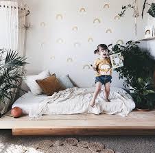 Boho Chic Girls Room With Adorable Rainbow Decals Toddler Bedroom Decor Rainbow Girls Room Girl Room