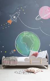 Rocket Wall Mural Space Wallpaper For Kids Muralswallpaper In 2020 Kids Room Wallpaper Kids Room Murals Space Themed Bedroom