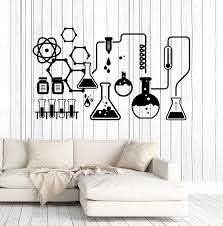 Amazon Com Vinyl Wall Decal Science Chemical Lab Scientist Chemistry School Stickers Large Decor Ig4682 Matte Black Kitchen Dining