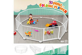 Dick Smith 10 Panel Wooden Playpen Kids Baby Toddler Fence Play Yard White Children S Furniture