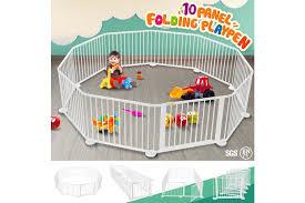 10 Panel Wooden Playpen Kids Baby Toddler Fence Play Yard White Matt Blatt