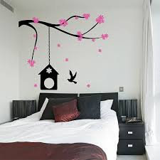 Cherry Blossom Branch With Birdcage Vinyl Wall Art Decal