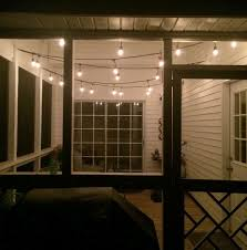 hang string lights on a screened porch
