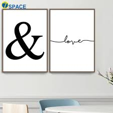 Ampersand Love Line Posters And Prints Wall Art Canvas Painting Nordic Poster Black White Wall Pictures For Living Room Decor Painting Calligraphy Aliexpress