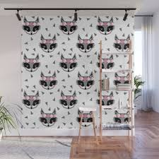 Raccoon Girl Floral Crown Cute Animals Print For Kids Room Decor Boys And Girls Nursery Wall Mural By Charlottewinter Society6