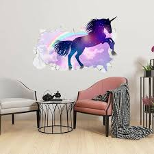Akoada Girls Kids Bedroom Purple Fly Unicorns Wall Stickers 3d Broken Wall Art Decals Walmart Com Walmart Com