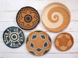 set of 5 wall plates african inspired