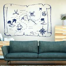 Large Pirate Ship And Treasure Map Wall Sticker Classroom Kids Room Cartoon Pirate Map Wall Decal Nursery Vinyl Home Decor Wall Stickers Aliexpress