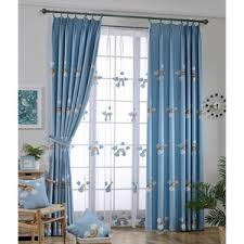 Blue Rainbow Embroidery Cotton And Velvet Thermal Kids Curtains
