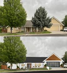 Current Proposed Design White Paint Black Window Frames Metal Roof Ipe Wood Accents Matching Wood Fence New Front And Garage Door Remove Pine Tree Thoughts Ideas Welcome Exteriordesign