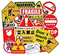 Amazon Com Assorted 50 Pack Vinyl Sticker Bomb Warning Sign Theme Decal Graffiti Roll Mix Water Bottle Car Skateboard Laptop Luggage Arts Crafts Sewing