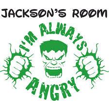 The Incredibles Hulk Green Cartoon Design Customized Wall Decal Custom Vinyl Wall Art Personalized Name Baby