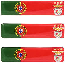 Amazon Com Portuguese Flag With Sl Benfica Emblem Resin Domed 3d Decal Car Sticker Set Of 3
