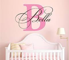 Nursery Custom Name And Initial Wall Decal Sticker 40 W By 28 H Girl Name Wall Decal Girls Name Wall De Initials Wall Decal Hello Door Decal Wall Decal Sticker