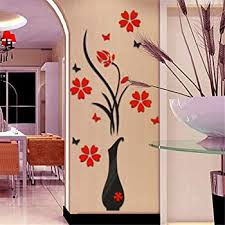 Amazon Com Tuscom Diy Vase Flower Tree Crystal Arcylic 3d Wall Stickers Decal Home Decor 31 5 15 7 Home Kitchen