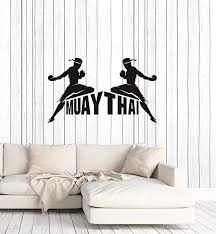 Amazon Com Vinyl Wall Decal Muay Thai Boxing Fight Club Fighting Mma Sport Stickers Mural Large Decor Ig5855 Black Home Kitchen
