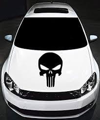 Amazon Com Punisher Hood Decal Original Car Graphycs Racing Car Sticker Silver Home Kitchen